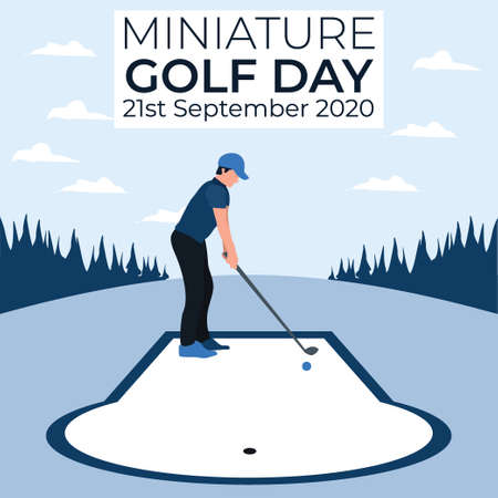 a man playing golf - miniature golf day - two tone flat illustrations Vectores