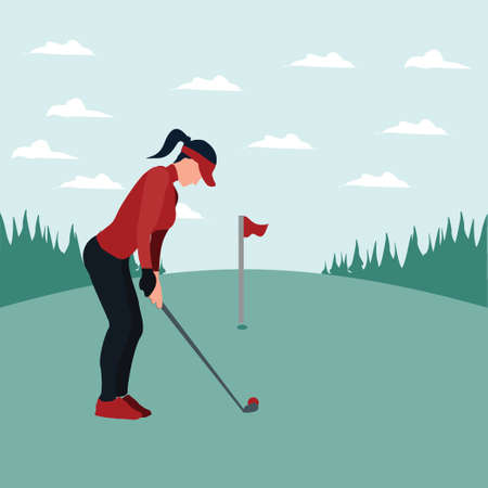 a woman training golf on the sunny day - colorful flat illustrations Vectores