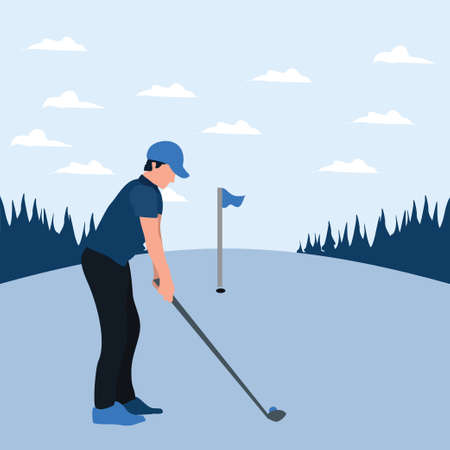 a man training golf on the sunny day - two tone flat illustrations