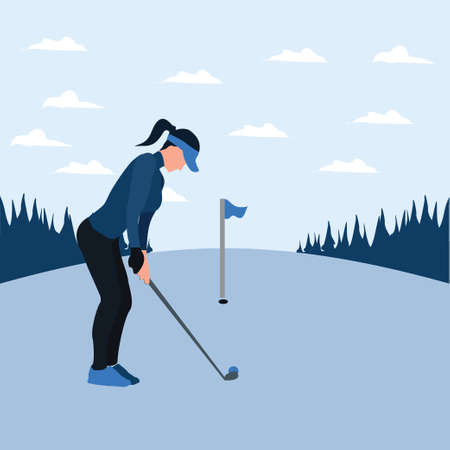 a woman training golf on the sunny day - two tone flat illustrations