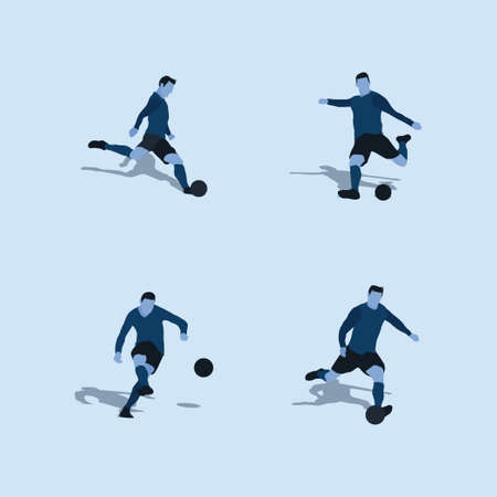 kick the ball or shoot in soccer set two tone flat illustration