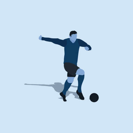 dribble with pace in soccer - two tone flat illustration - shot, dribble, celebration and move in soccer