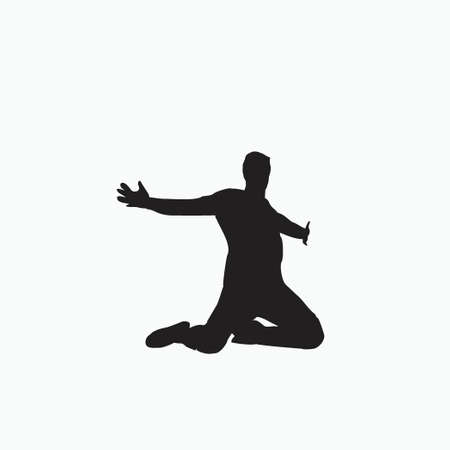 raise hand up with kneel on the field celebration - silhouette soccer goal celebration - shot, dribble, celebration and move in soccer