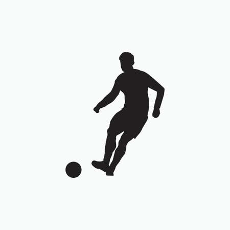 right footed passing - silhouette illustration - shot, dribble, celebration and move in soccer Vektoros illusztráció