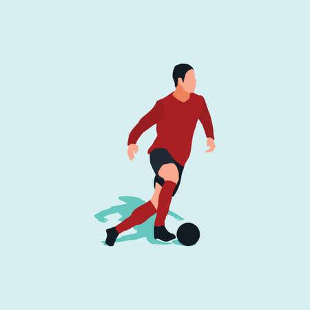 smooth dribbling in soccer - shot, dribble, celebration and move in soccer Ilustracja