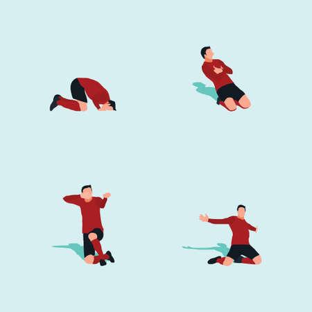 kneel on the field celebration set - soccer goal celebration - shot, dribble, celebration and move in soccer