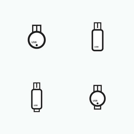 usb flashdisk outline set - computer peripheral, electronic and technology equipment icon