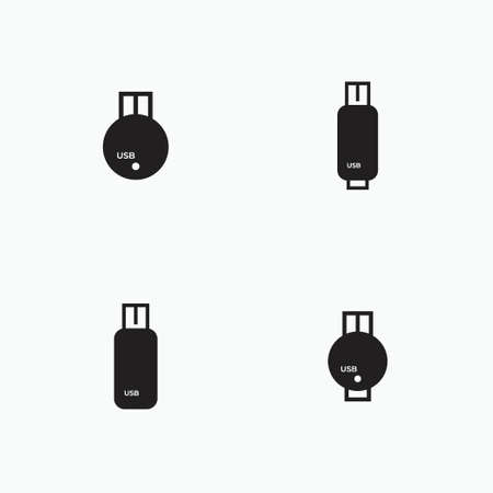 usb flashdisk silhouette set - computer peripheral, electronic and technology equipment icon
