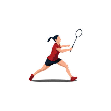 women badminton get ready to receive the shuttlecock from the opponent - women are playing badminton defense with receiving shuttlecock isolated on white Vector Illustration