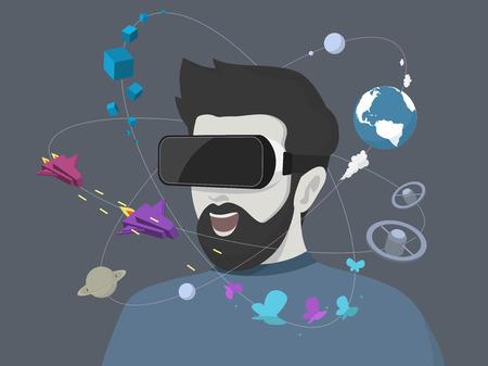 Man met behulp van de virtual reality headset. Vector illustratie.