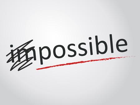 Veranderen van het woord onmogelijk mogelijk. Stock Illustratie