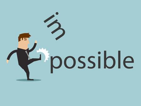 Het veranderen van het woord onmogelijk om mogelijk kick, grafische vector