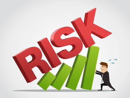 Biznesmen nosi wykres wzrostu od ryzyka. Koncepcja ilustracji wektorowych