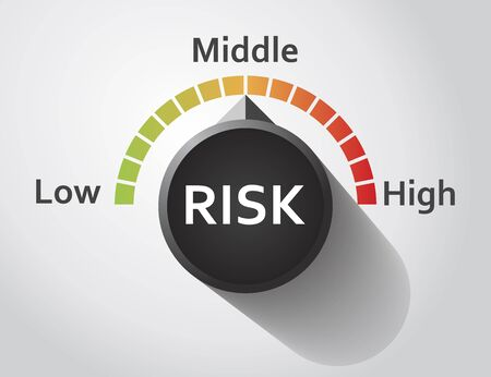 risky business: Risk button pointing between low and high level, Vector graphic