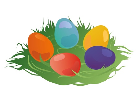 Easter eggs nestled in the grass Illustration