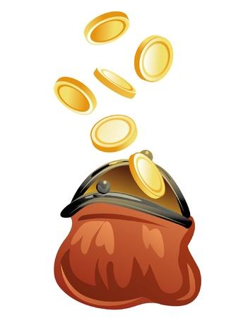 purse and golden coins Vectores