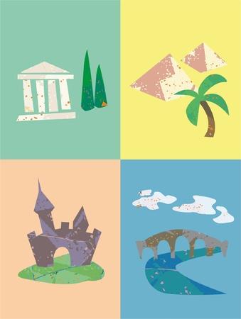 zypresse: Satz von Urlaub und Reise Orte