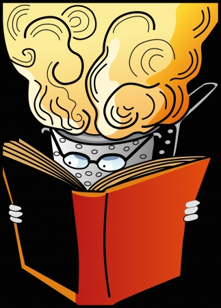 colander: colander with book and glasses