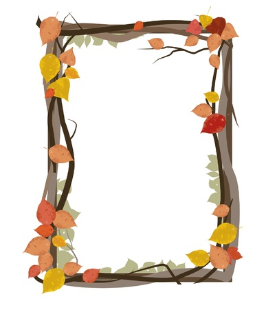 frame made of autumn leafs