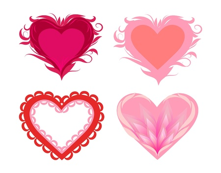 set of stylized hearts Illustration