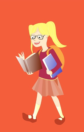 smart girl with books