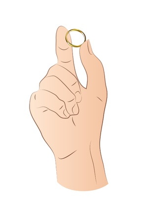 Hand With Gold Ring Stock Vector - 21045620