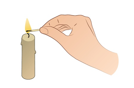 Hand With Candle And Match Stick Stock Vector - 21893563