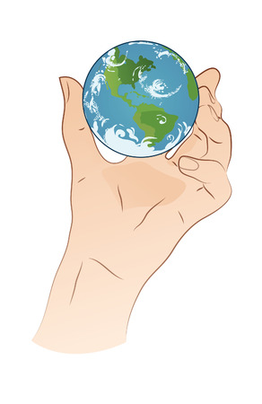 Hand Holding Planet Stock Vector - 22552322