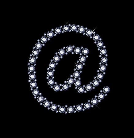 arobase: At Symbol made of diamonds