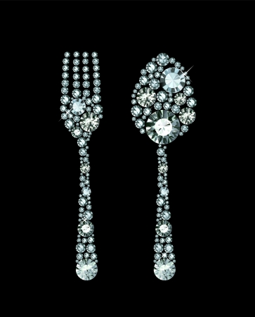 Diamond Fork And Spoon Stock fotó - 23516822