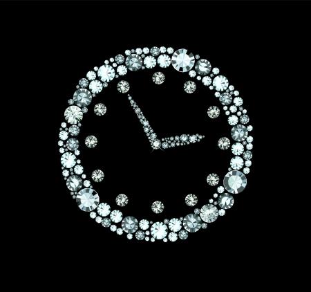 diamonds on black: Diamond Clock Illustration