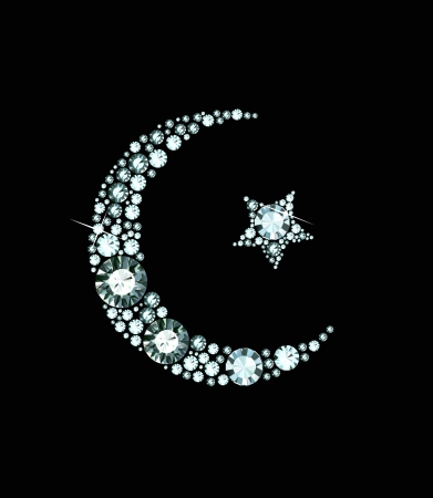 star and crescent: Diamond Islam Symbol