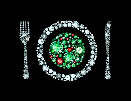 salad on plate with knife and fork made of gems