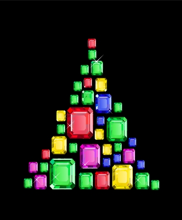 Christmas Tree made of square gems Vector