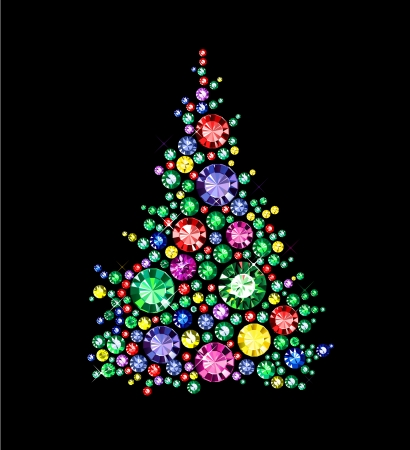 Christmas Tree made of gems Vector
