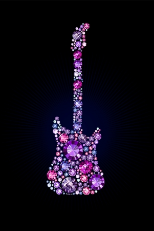 electric guitar made of gems Vector