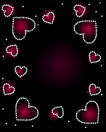 Abstract With Diamond Hearts