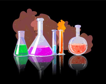 reagents: Chemical Tubes With Colorful Liquids