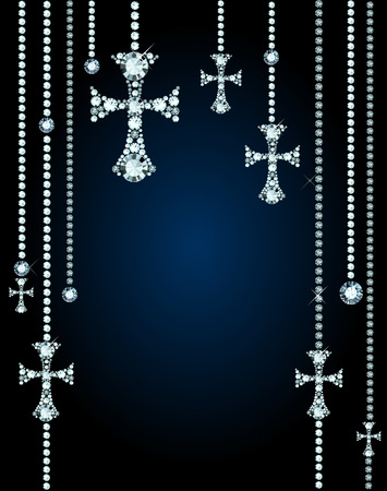 Background With Gems And Diamond Crosses