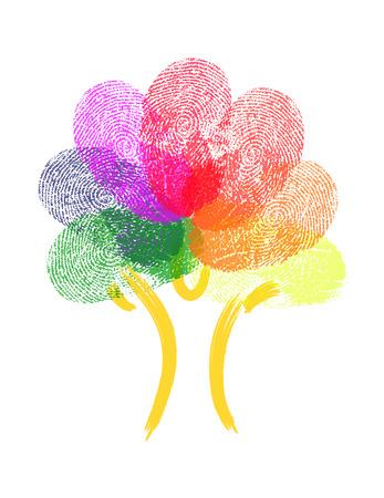 fingertip: Tree Made Of Fingerprints