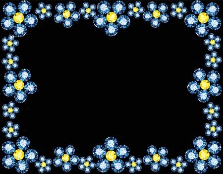 Gem Flowers Frame Illustration