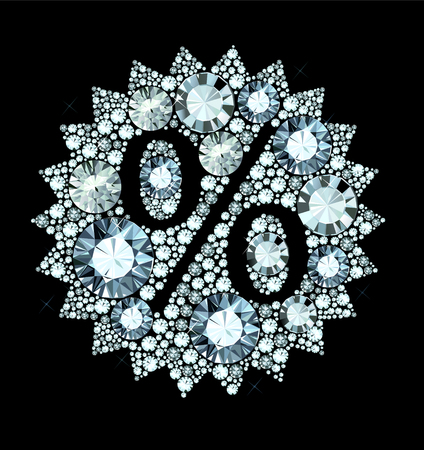 Sale sign made of diamonds