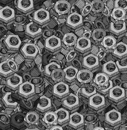 drawn metal: Hand Drawn Metal Screw Nuts Texture