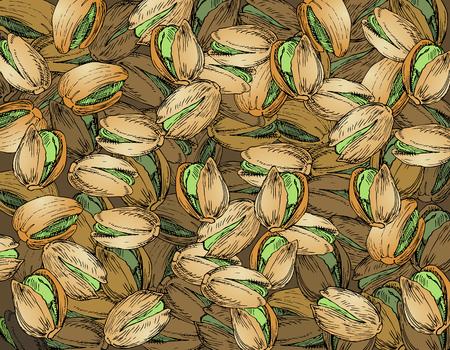 Hand Drawn Pistachios Texture Illustration