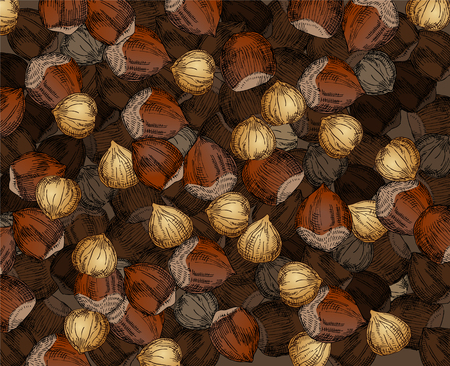 nutty: Hand Drawn Walnuts Texture Hazelnuts