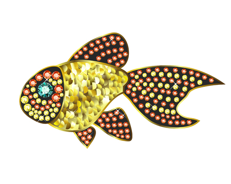 Gem Gold Fish Vector