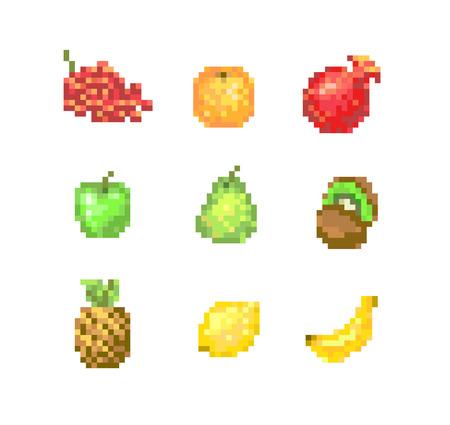 8 Bit Pixel Fruits Vector