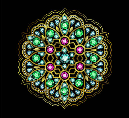 Ornament element made of colored gems