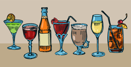 Set of colorful drawn cocktails Illustration