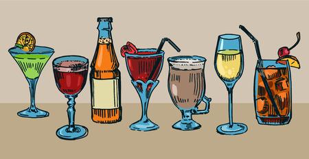 facer: Set of colorful drawn cocktails Illustration